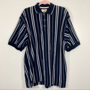 Vintage | 80's Blue White Striped Polo Shirt